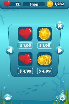 Ekran sklepu z podwodną koncepcją gry