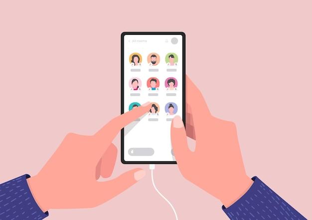 Ekran smartfona z konwersacją na czacie audio