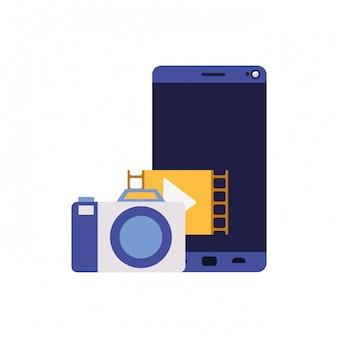 Ekran smartphoen z ikoną na białym tle aparatu
