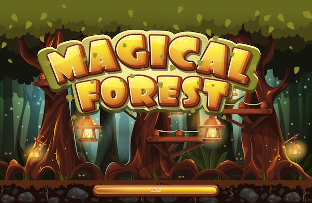 Ekran startowy do magicznego lasu w grze komputerowej