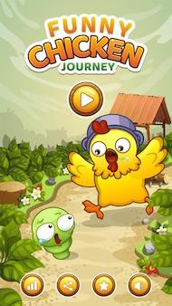Ekran startowy gry wyścigowej z kurczakiem z logo