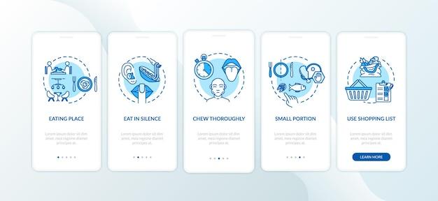 Ekran strony aplikacji mobilnej do wprowadzania posiłków i wielkości porcji z koncepcjami. przeżuwanie dokładnie prześledź 5 kroków instrukcji graficznych. szablon wektorowy interfejsu użytkownika z kolorowymi ilustracjami rgb
