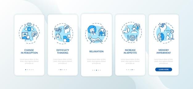 Ekran strony aplikacji mobilnej wprowadzający efekt marihuany z koncepcjami. upośledzenie pamięci, trudności w myśleniu przewodnik 5 kroków instrukcje graficzne. szablon wektorowy interfejsu użytkownika z kolorowymi ilustracjami rgb