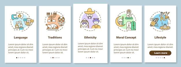 Ekran strony aplikacji mobilnej wprowadzający wielokulturowość z koncepcjami. przewodnik po globalnym dziedzictwie kulturowym 5 kroków instrukcje graficzne. szablon wektorowy interfejsu użytkownika z kolorowymi ilustracjami rgb