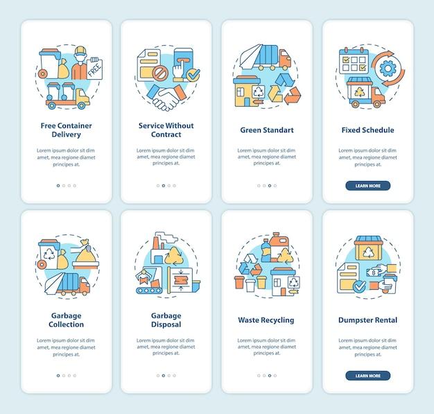 Ekran strony aplikacji mobilnej z usługą zarządzania śmieciami. recykling przewodnik 4 kroki graficzne instrukcje z koncepcjami. szablon wektorowy ui, ux, gui z liniowymi kolorowymi ilustracjami