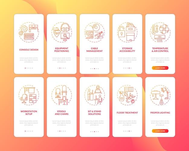 Ekran strony wprowadzającej aplikację mobilną na temat bezpieczeństwa w miejscu pracy z ilustracjami zestawu pojęć