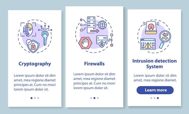 Ekran strony wprowadzającej aplikację mobilną z zabezpieczeniami sieci z koncepcjami