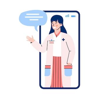Ekran telefonu z lekarzem kobietą lub farmaceutą płaski wektor ilustracja na białym tle