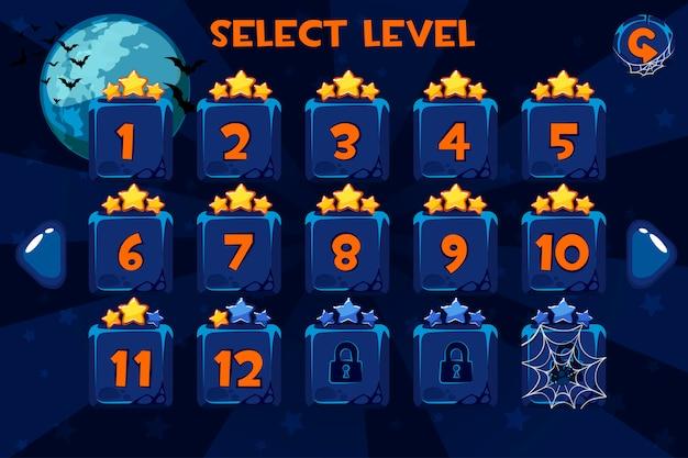 Ekran wyboru poziomu. interfejs użytkownika gry ustawiony na tle halloween