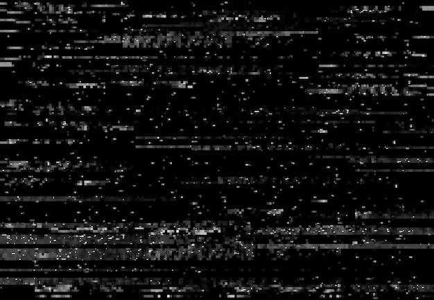 Ekran zniekształceń glitch, efekt usterki wideo vhs z liniami i szumem, tło wektorowe. piksele telewizyjne na ekranie cyfrowej telewizji, zniekształceniach sygnału komputerowego lub vhs z efektem usterki