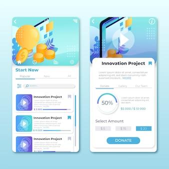Ekrany aplikacji do finansowania społecznościowego