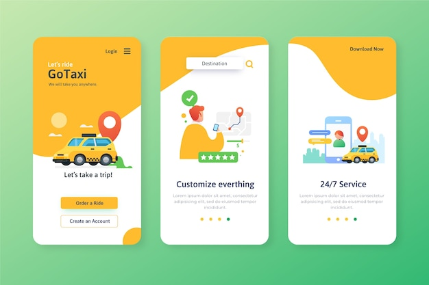 Ekrany aplikacji do obsługi taksówek