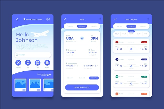 Ekrany aplikacji do rezerwacji podróży