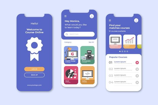 Ekrany aplikacji kursu