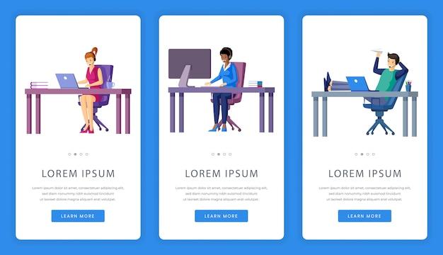 Ekrany aplikacji mobilnych do pracy biurowej, outsourcingu lub wirtualnego biura z miejscem na tekst.