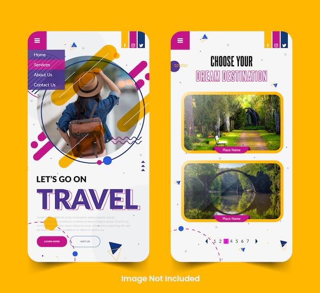 Ekrany aplikacji tour & travel