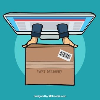 Ekrany i dłonie dostarczające pudełko kartonowe