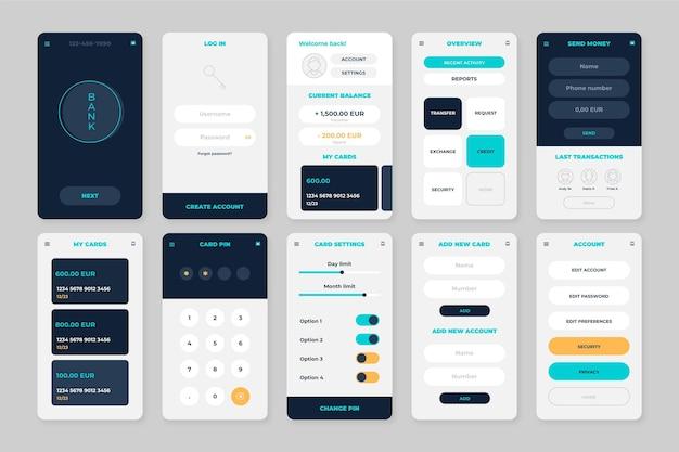 Ekrany interfejsu aplikacji bankowej