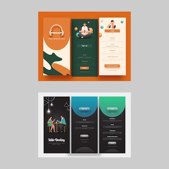 Ekrany interfejsu aplikacji mobilnej z rezerwacją stolików i muzyką