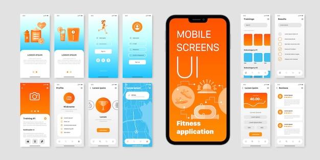 Ekrany mobilne z interfejsem użytkownika aplikacji fitness z polami nazwy użytkownika i hasła oraz wynikami treningu izolowanymi na płasko
