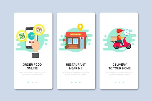 Ekrany pokładowe dostarczania żywności do aplikacji