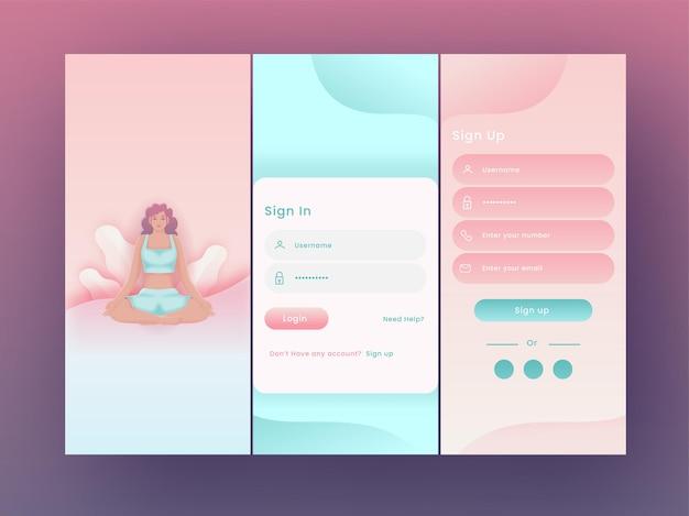 Ekrany powitalne aplikacji jogi lub fitness, w tym jak podczas logowania, zarejestruj się w mobilnym interfejsie użytkownika