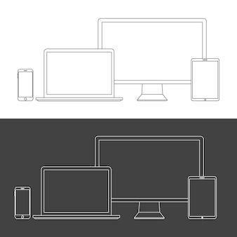 Ekrany urządzeń elektronicznych na białym tle. komputer stacjonarny, laptop, tablet i telefon komórkowy z przezroczystością.