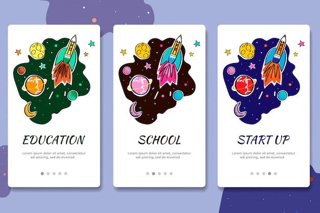 Ekrany włączenia witryny internetowej. edukacja online. cyfrowe samouczki i kursy internetowe. szablon baneru menu do tworzenia stron internetowych i aplikacji mobilnych. doodle styl ilustracji