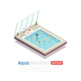 Ekskluzywna klasa ćwiczeń aerobowych w wodzie dla kobiet z banerem składu izometrycznego instruktorów aqua fitness