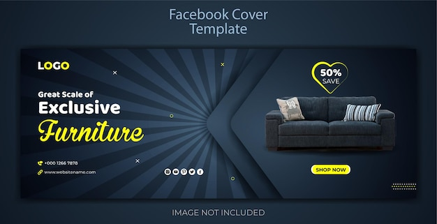 Ekskluzywna sprzedaż mebli facebook szablon promocyjny
