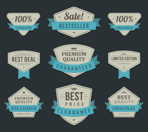 Ekskluzywne etykiety na zakupy. vintage wyprzedaż w limitowanej edycji niebieskiej wstążki dla elitarnych klientów.