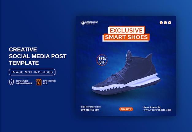 Ekskluzywne inteligentne buty koncepcja banerów reklamowych na instagram szablon postu w mediach społecznościowych