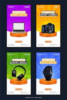Ekskluzywny inteligentny laptop z aparatem cyfrowym słuchawki i zegarek instagram story banner post w mediach społecznościowych