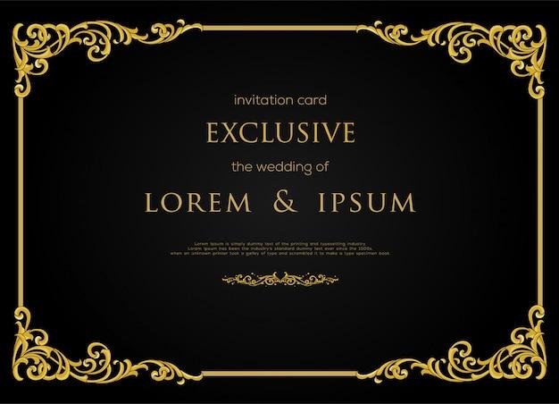 Ekskluzywny projekt karty zaproszenie z luksusową ramą w kolorze złota i elementem dekoracyjnym