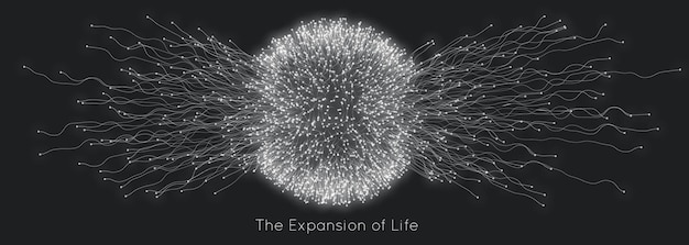 Ekspansja życia. tło wybuch kuli.