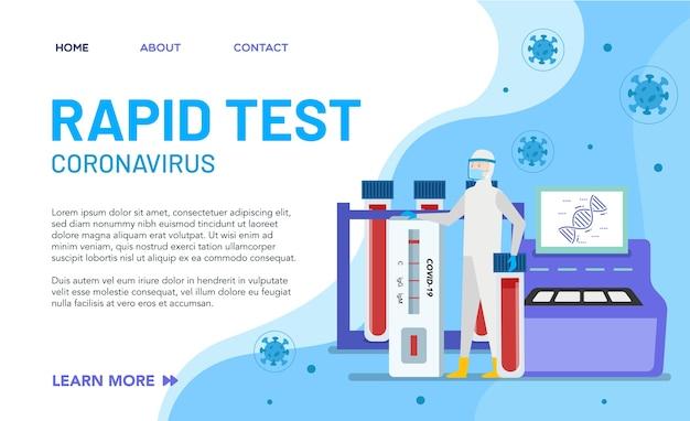 Eksperci ds. zdrowia są w laboratorium, aby przeanalizować wyniki szybkiego testu. koncepcja strony docelowej