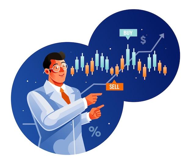 Ekspert handlowy pokazujący wykres na giełdzie