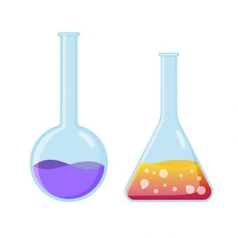 Eksperyment chemiczny sprzęt laboratoryjny. kolby sprzęt do projektowania gier i aplikacji. laboratorium badań chemicznych