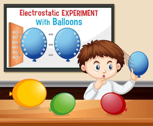 Eksperyment naukowy elektrostatyczny z chłopcem-naukowcem