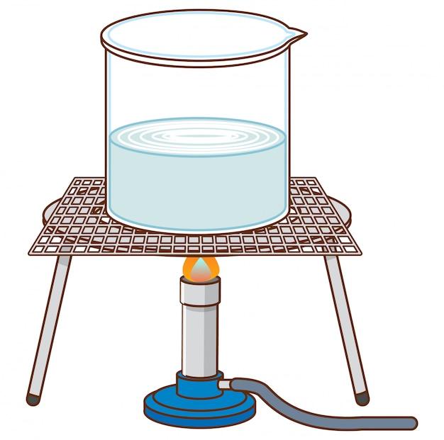 Eksperyment naukowy z wrzącą wodą na stojaku
