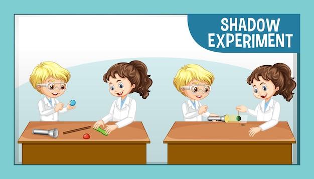 Eksperyment z cieniem z postacią z kreskówki dla dzieci naukowca