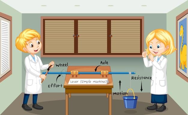 Eksperyment z kołem i osią z dziećmi naukowców