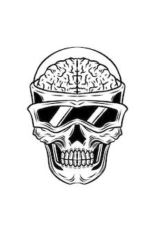Eksperymentalna ilustracja wektorowa czaszki