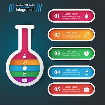 Eksperymenty z tubami. streszczenie infografiki. pięć kolorowych elementów