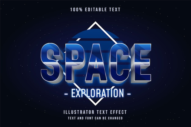 Eksploracja kosmosu, edytowalny efekt 3d z efektem niebieskiej gradacji neonowy styl tekstu z lat 80