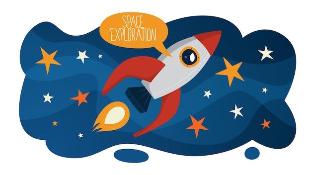 Eksploracja kosmosu i podróże w koncepcji galaktyki. pomysł astronauty na eksplorację nowej planety. astronomia i inżynieria, nowoczesna technologia. latająca rakieta. ilustracja