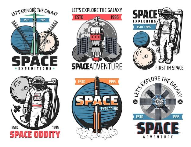 Eksploracja kosmosu, ikony misji astronautów. rakietowy pojazd nośny o dużej ładowności, astronauta na załogowej jednostce manewrowej w kosmosie, wystrzeliwanie statku kosmicznego, stacja orbitalna i satelita retro s