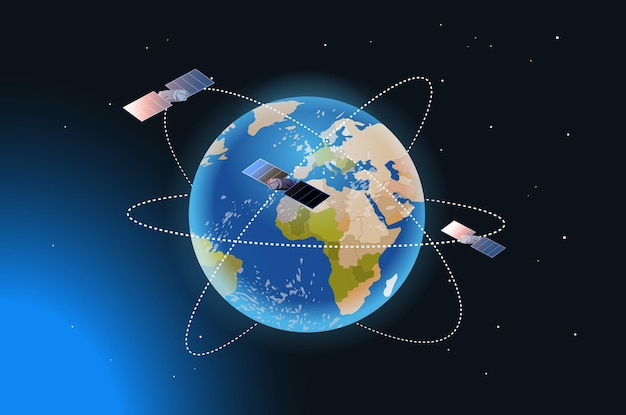 Eksploracja kosmosu technologia astronautyczna, satelita obserwacyjny latający orbitalny lot kosmiczny wokół ziemskiego statku kosmicznego w kosmosie