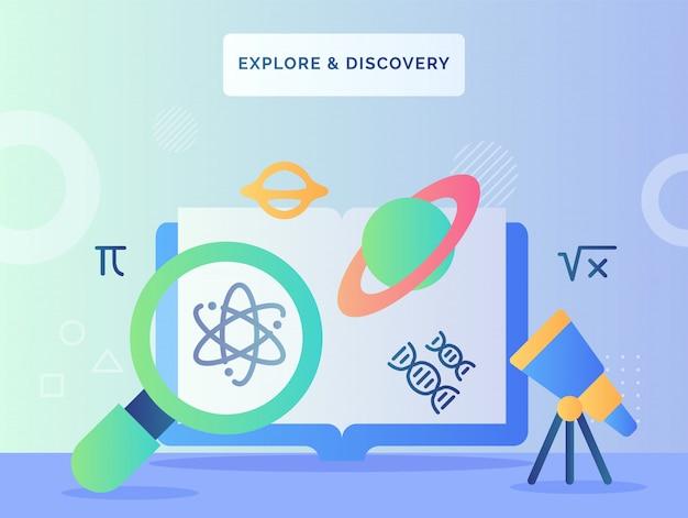 Eksploruj i odkrywaj koncepcję lupe znajdującego ikonę atomu teleskop wygląda na planetę saturn przed komputerem z płaskim stylem.