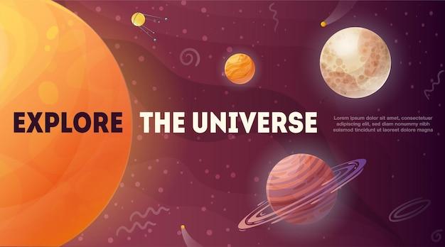 Eksploruj wszechświat świecące gwiazdy słońca i planety z elementami kosmicznymi